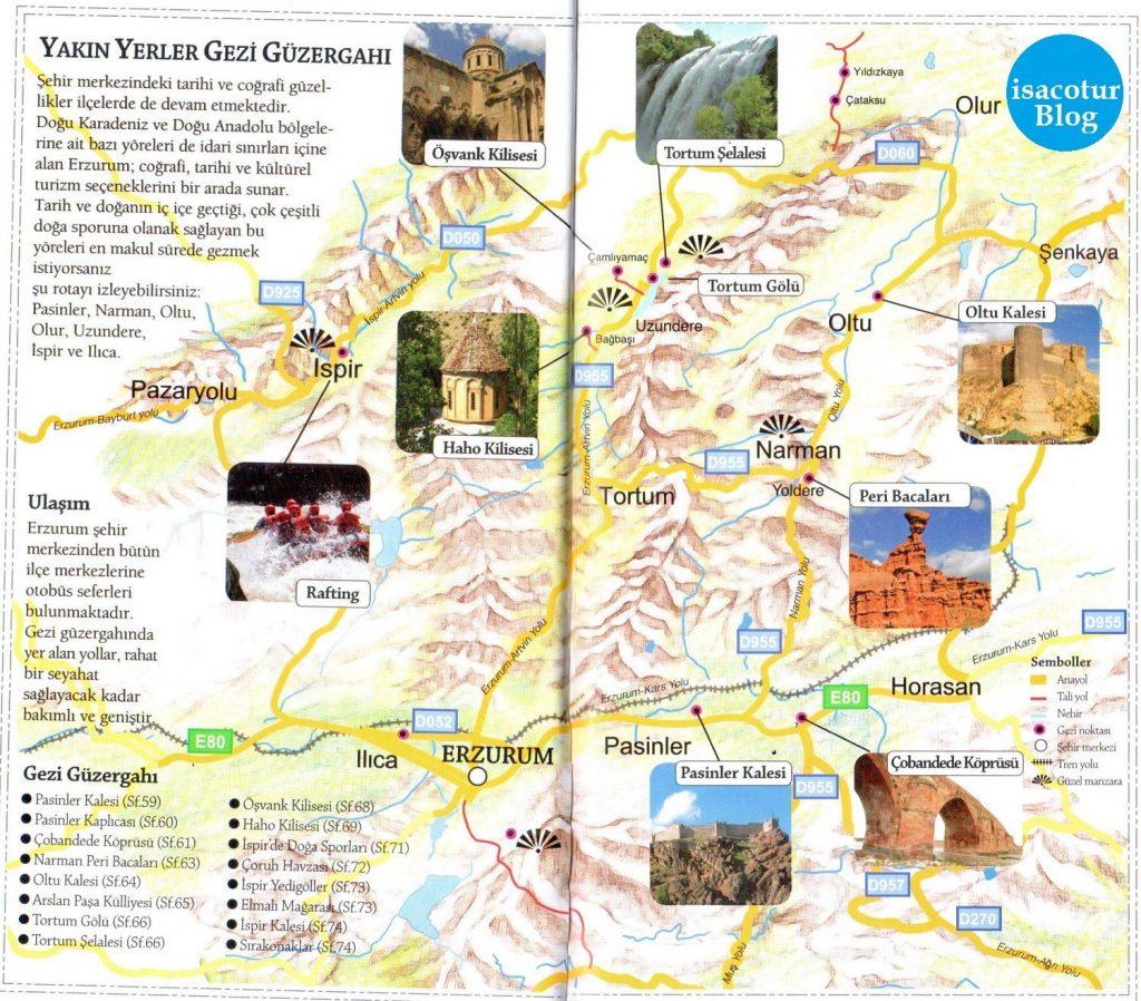 Erzurum Gezi Güzergahı Haritası