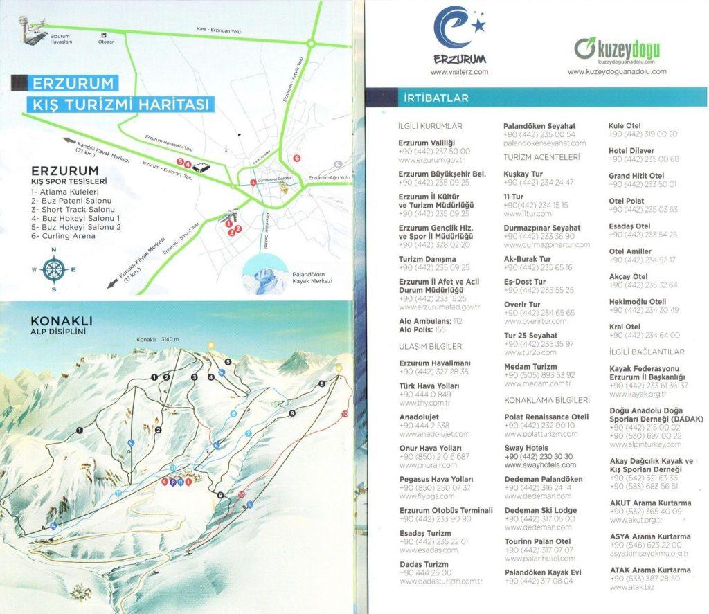 Erzurum Kış Turizmi Haritası palandöken