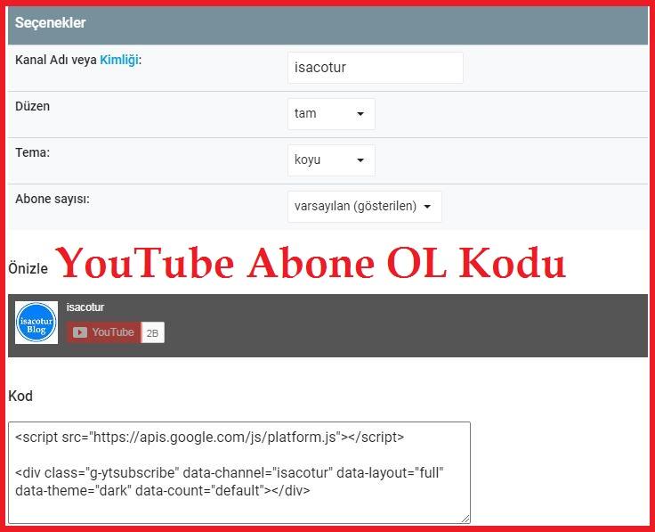 YouTube Abone OL Kodu Ekleme