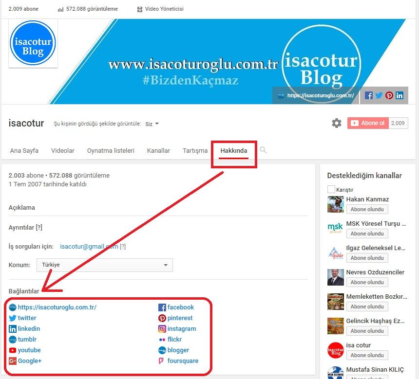 YouTube Kanalına sosyal medya hesapları ekleme