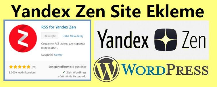 Yandex Zen Site Ekleme