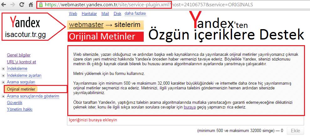 Yandex orijinal metine destek veriyor