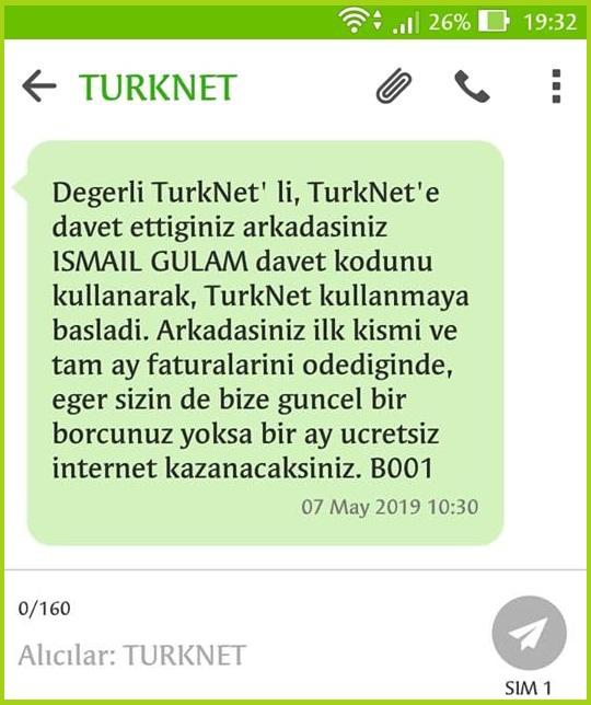 TürkNet Arkadaşını Getir Kampanyası Kodu