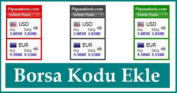 Sitene Borsa Kodu Ekle