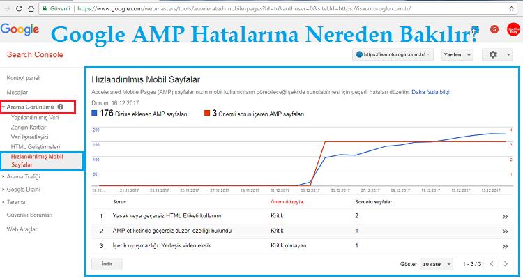 Web sitenizin AMP Hatalarına Nereden Bakılır