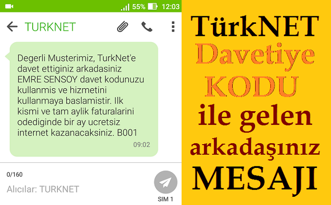TürkNet Arkadaşını Getir Kampanyası Mesajı