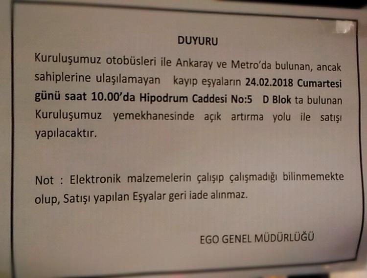 Ankara Ego Toplu Taşımada Unutulan Eşyalar Açık Artırma Satışı