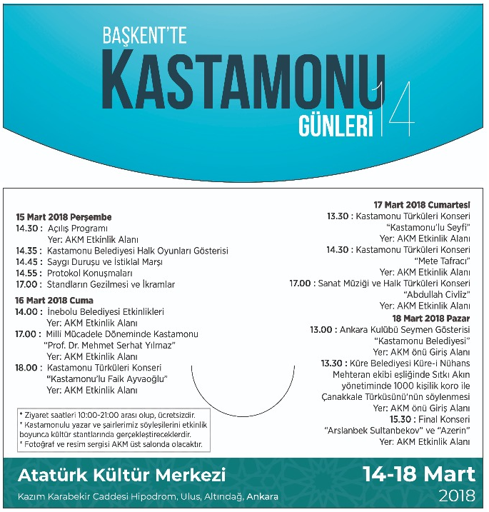 Başkent'te Kastamonu Günleri 2018 Etkinlik Takvimi