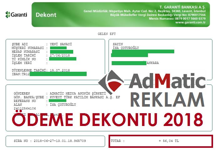 Admatic reklam ödeme dekontu 2018