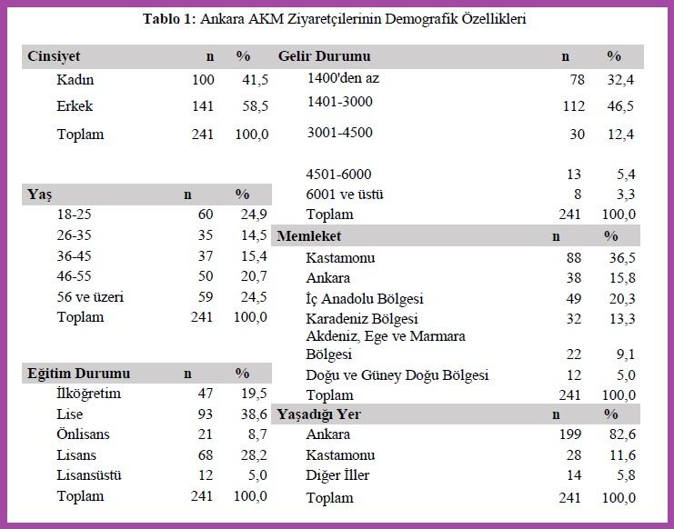 Ankara AKM Ziyaretçilerinin Demografik Özellikleri