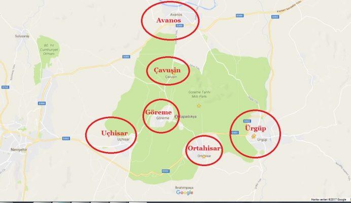Nevşehir Kapadokya Turizm Haritası