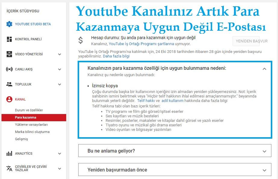 Youtube Kanalınızın Para Kazanmaya Uygun Bulunmama Nedeni