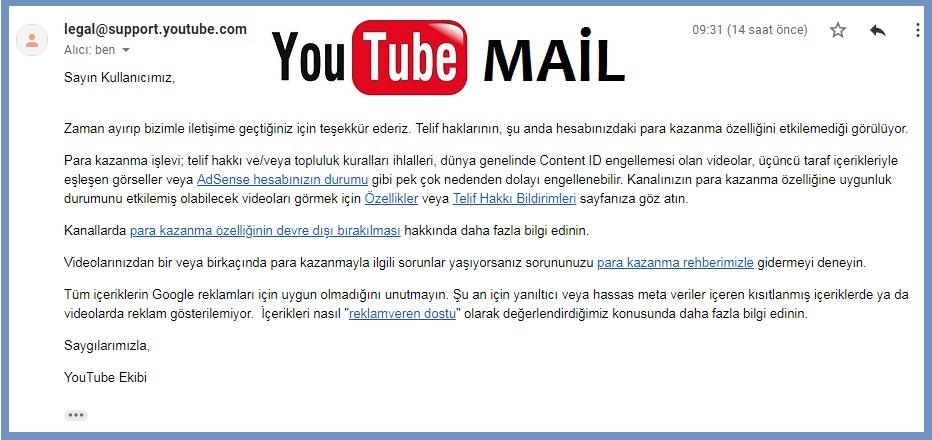 YouTube Türkiye Mail Destek Ekibi