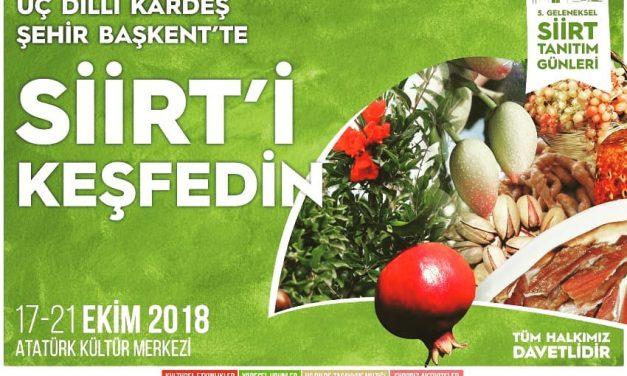 Başkentte Siirt Tanıtım Günleri 2018 İPTAL OLDU