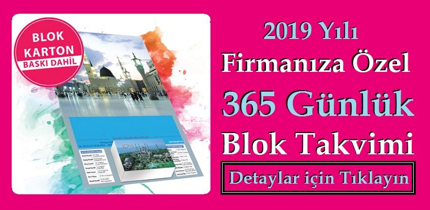 2019 Yılı Firmanıza Özel 365 Günlük Blok Takvimi
