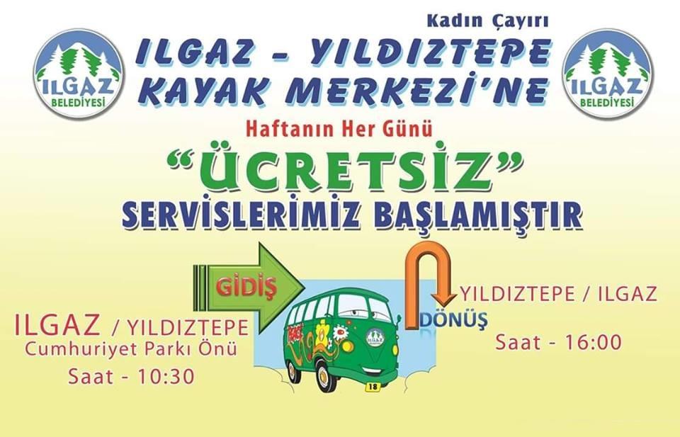 Ilgaz Belediyesinde Yıldıztepe Kayak Merkezine Ücretsiz Servis Hizmeti