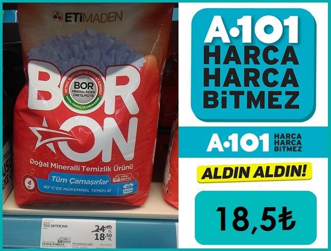 A101 MarketteBORON Deterjan Fiyatı 18,50₺