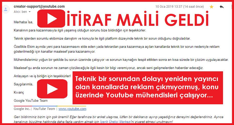YouTube Teknik Sorun İtiraf Maili