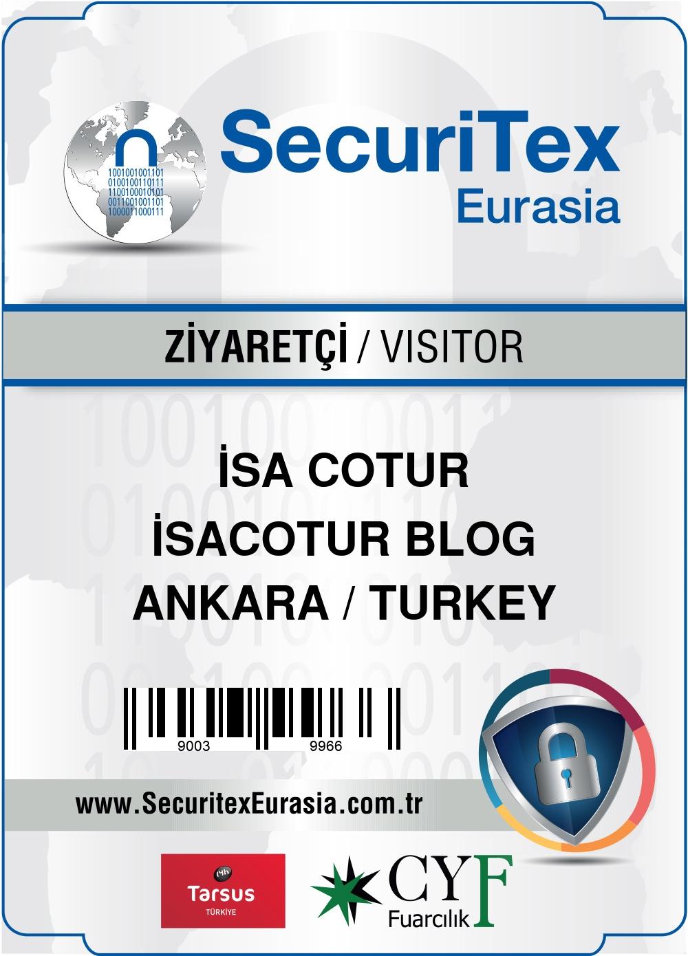 SecuriTex Eurasia 2019 Ankara Ziyaretçi kartı