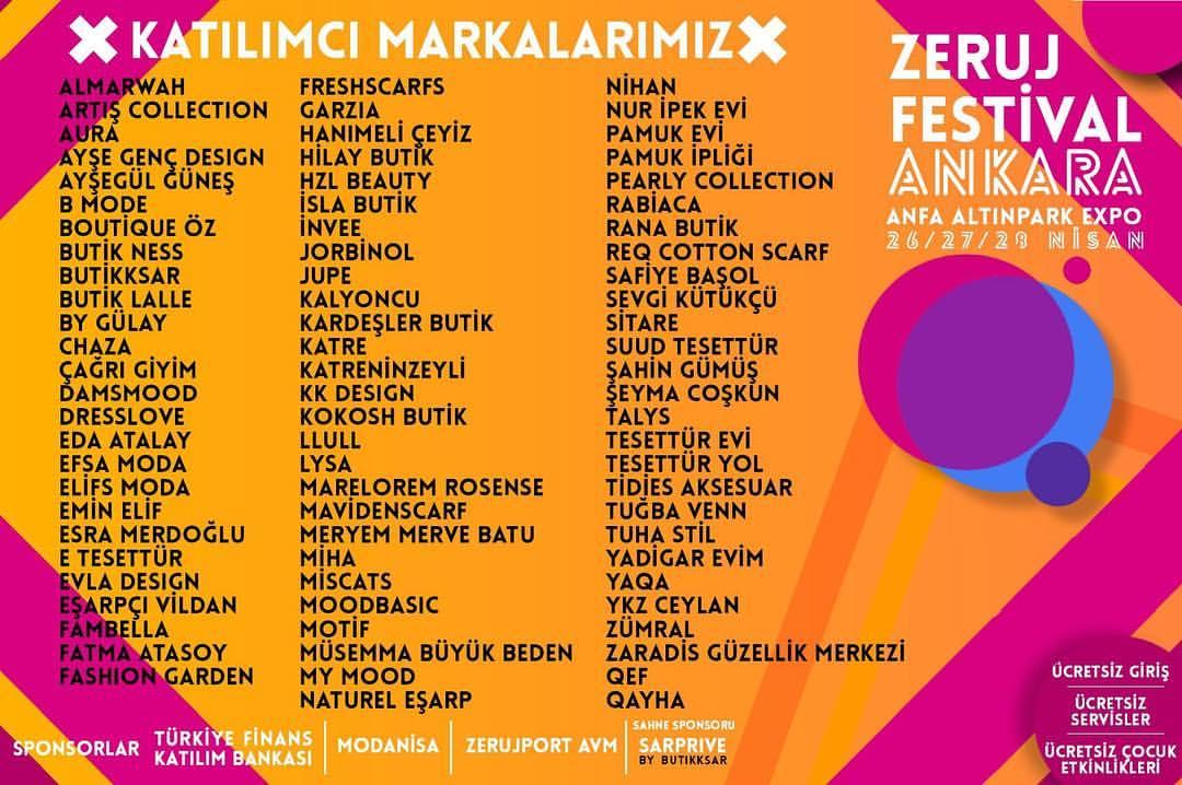 Zeruj Festivali 2019 Ankara Katılımcı Markalar