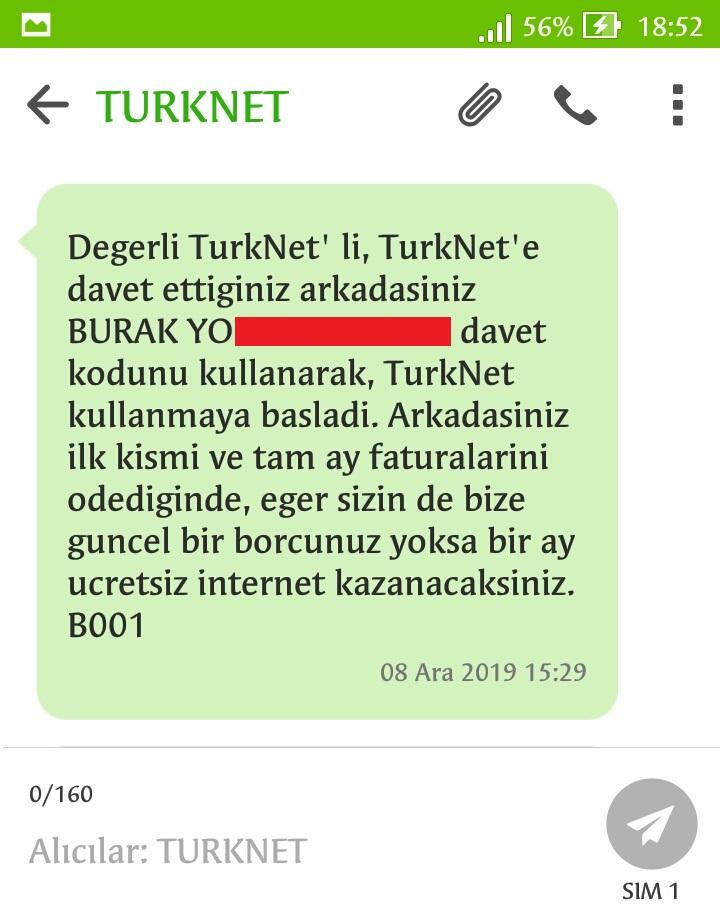 Arkadaşını Getir TürkNet Davet Kodu Mesajları