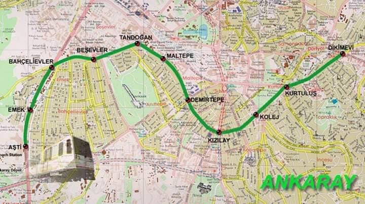 Ankaray metrosu harita