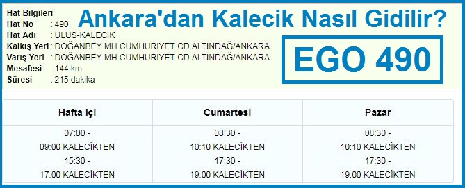 Ankara'dan Kalecik Nasıl Gidilir? Ego 490