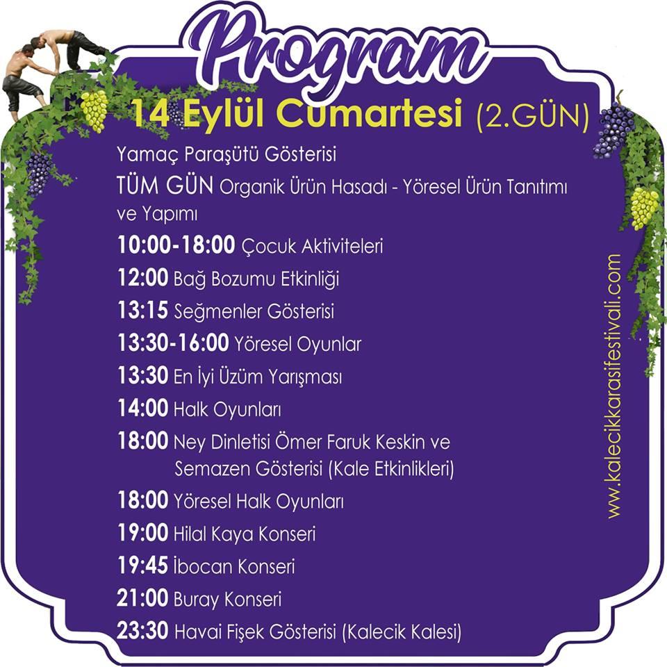 Kalecik Karası Üzüm Festivali 2019 Etkinlik Takvimi