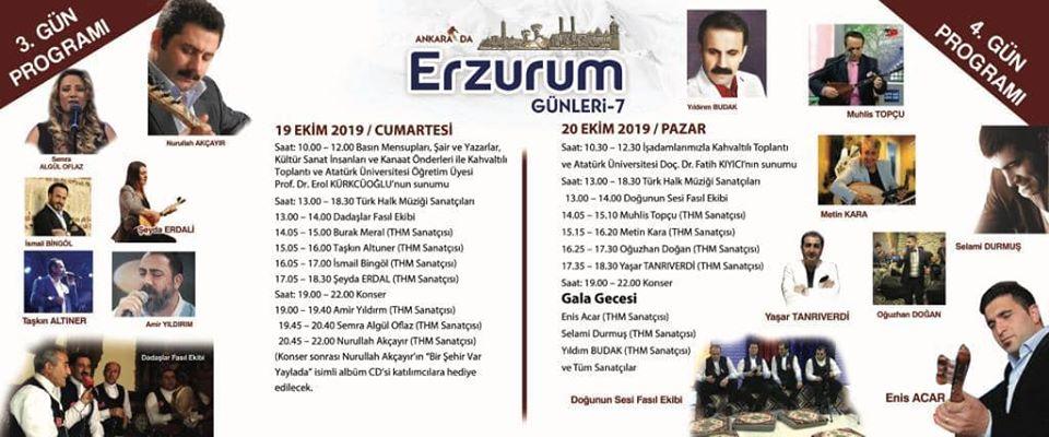 2019 Erzurum Tanıtım Günleri Ankara Etkinlik Takvimi