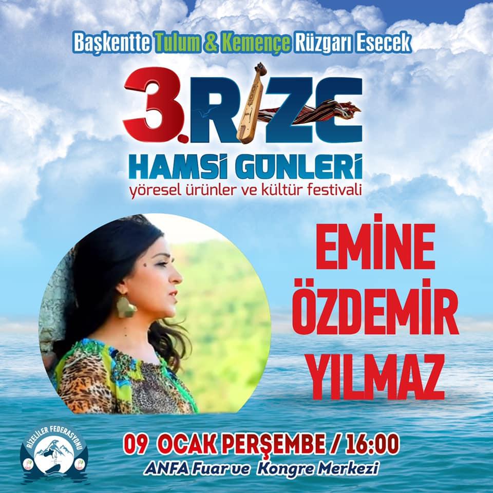 3. Rize Tanıtım Günleri Festivali 2020 Ankara Konserlerleri EMİNE ÖZDEMİR YILMAZ
