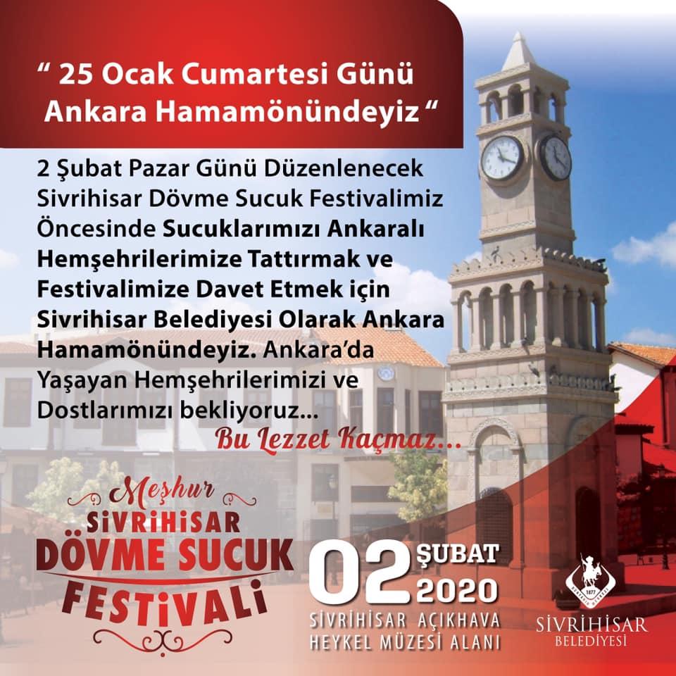 Sivrihisar Dövme Sucuk Festivali Tanıtımı 25 Ocak 2020 Cumartesi Ankara Hamamönü