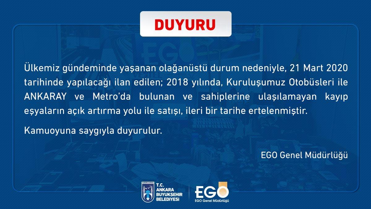 Ankara Büyükşehir Belediyesi Kayıp Eşya Açık Artırma İhalesi Ertelendi