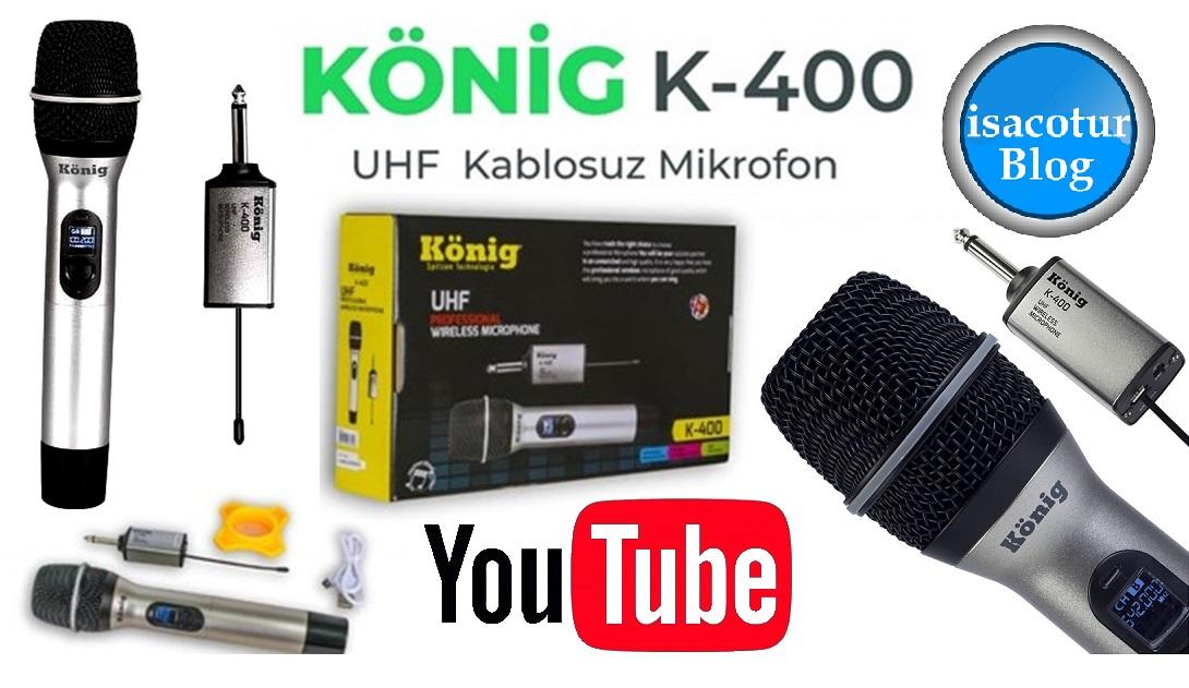 König K-400E Şarjlı Uhf Telsiz Kablosuz El Mikrofonu