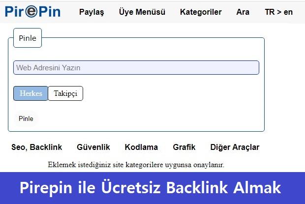Pirepin ile Ücretsiz Backlink Almak