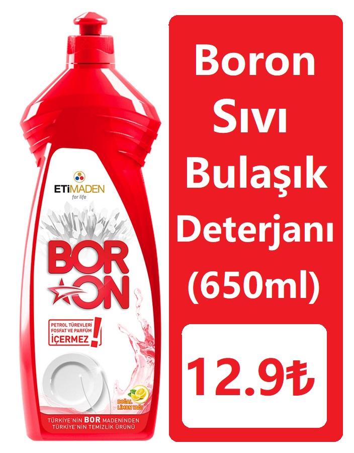 Boron Sıvı Bulaşık Deterjanı 650ml (Elde Kullanımlar için) 12.90₺